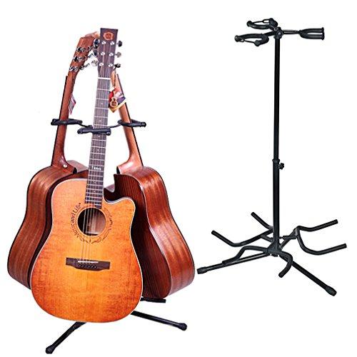 Malayas Soporte para Guitarra, Trípode Soporte para 3 Guitarras, Soporte ajustable para Guitarra Eléctrica, Acústica, Bajo, Banjo, Color Negro