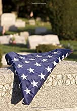 Blank Book Journal: United States Flag on Tombstone in Veteran's Cemetery Glossy Cover Notebook: 7 x 10 size, 150 gray lin...