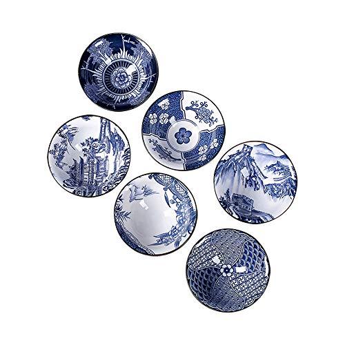 G-LIKE Blau-Weiß Porzellan Teetassen Geschenkbox – Traditionelles Chinesisches Teegeschirr Retro-Stil Antik Handwerk 6-teilig Set Teeschalen Tee Zeremonie Kunstwerk Gongfu Teekunst (Blauweiß2)