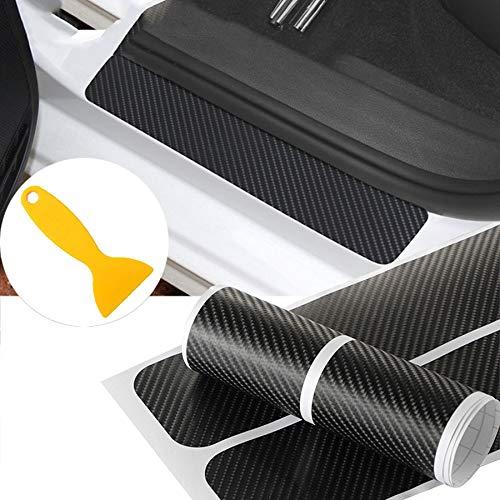 NF orange 4X 5D Carbon Fiber Car Scuff Plate Door Sill Sticker Panel Protector and a Scraper