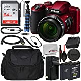 Nikon COOLPIX B600 Digital Camera (Red) 26528 with Essential Accessory Bundle – Includes: