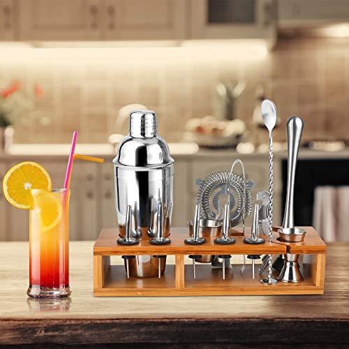 Hossejoy Hochwertiges Cocktailshaker Set,14 Teilig, mit Bambus-Aufbewahrung, inkl. Cocktail-Shaker, Doppeljigger, Messbecher, Bar Stößel, Bar Löffel, Ausgießer, Eiszange, Öffner, Hawthowe Strainer - 7