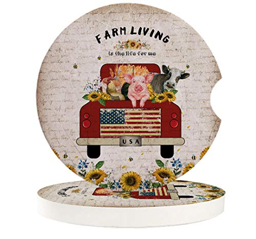 Sunflower Farmhouse Cattle Rooster Pig Vintage Animals Car Coasters for Drinks Absorbent Ceramic Car Cupholder Mug Coaster for Most Cars Vehicles Trucks and RV