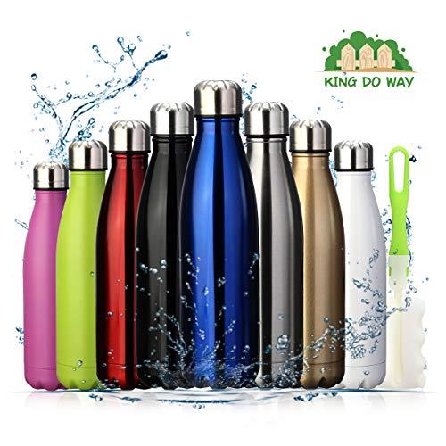 king do way Doppelwandige Edelstahl Trinkflasche Isolierflasche, 500ml BPA Frei Thermobecher, Thermosflasche Sportflasche Bottle Auslaufsichere Flasche für Sport, Outdoor, Camping, Büro (Schwarz)
