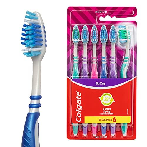 Colgate Zig Zag Manual Toothbrush, Value 6 Pack, Medium Bristles, Deep Interdental Clean