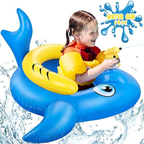 LETOMY Aufblasbare Pool Schwimmbett, Hai Schwimmbad Luftmatratze mit Wasserpistole Sommer Aufblasbarer Sitz Pool Schwimmer, 155cm*130cm*74cm Aufblasen Strandparty Spielzeug für Kinder Erwachsene