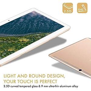 TOSCIDO Tablet 10 Zoll Android 10.0,Quad Core,64GM eMMC,4GB RAM,Doppelt Lautsprecher Stereo,WiFi/Bluetooth/GPS,Inklusive Deutscher Anweisungen - Golden
