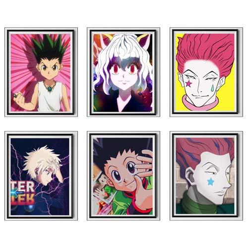 Póster de anime japonés Hunter Neferpitou Hisoka Gon Killua de tela para decoración del hogar, 8 x 10 pulgadas, sin marco, juego de 6
