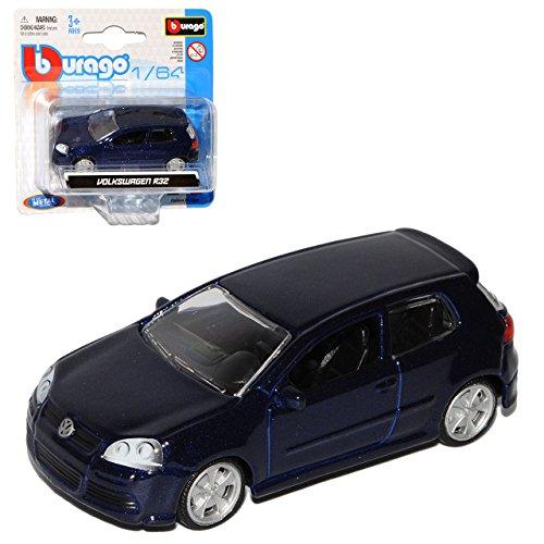 Bburago Volkwagen Golf V 5 R32 Dunkel Blau Fast Schwarz 2003-2008 1/64 Modell Auto mit individiuellem Wunschkennzeichen