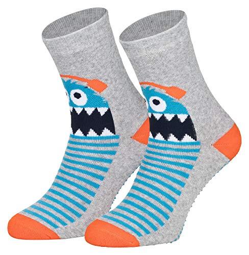 Piarini 2 Paar Kinder Stoppersocken ABS Socken Anti Rutschsocken Noppen Baumwolle Jungen Mädchen Grau Monster Gr. 23 24 25 26