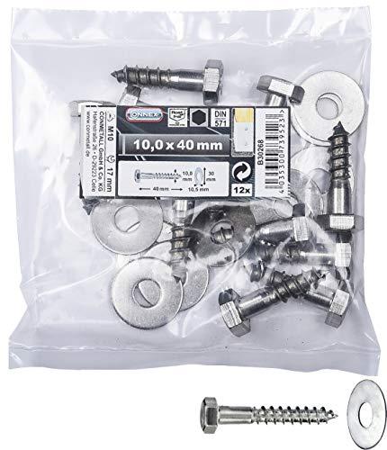 Connex Sechskant-Holzschrauben 10,0 x 40 mm - 12 Stück - Außensechskant-Antrieb - Edelstahl - Für sämtliche Holzverbindungen - Inkl. Unterlegscheiben / Schlüsselschrauben / Schrauben-Set / B30268