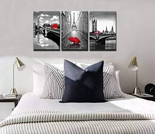 Paris Eiffel Tower Canvas Art Wall Decor - Gray and Red Pictures for Living Room - Wall Decorations for Bedroom