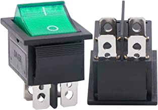 Twidec/2Pcs AC 20A/125V 15A/250V DPST 4 Pins 2 Position ON/Off Green LED Light Illuminated Boat Rocker Switch Toggle(Quality Assurance for 1 Years)KCD2-201N-G