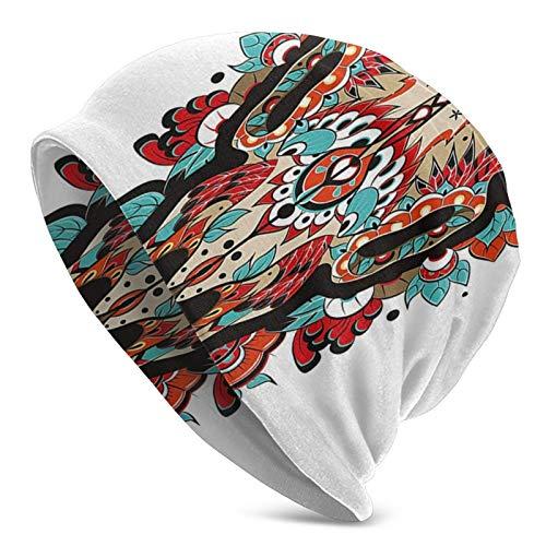 Búfalo azúcar Calavera Mexicana Colorido diseño Adornado con Cuernos Trofeo de Animal Gorro Unisex Gorro de Punto Gorro de Calavera pulóver Gorra Sombreros