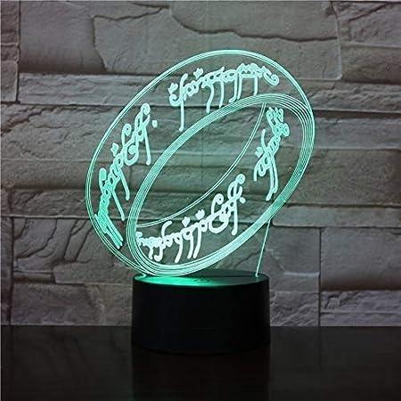 3D Illusion Light, Il Signore Degli Anelli Lampada Da Notte 3D Sensore Di Tocco Usb Novità Illuminazione Bambino Bambini Presenti Decorazioni Per La Luce Notturna A Led