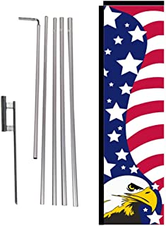 Patriotic USA American Outdoor Rectangle Banner Flag Sign with Pole Kit and Ground Spike, Eagle