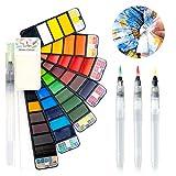 Fuumuui Set de Pintura de Acuarela de 42 Colores con Set de Pinceles de Acuarela de 3 Piezas, Set de Arte Profesional para la Bolsa de Viaje, Set de Pintura de Acuarela portátil