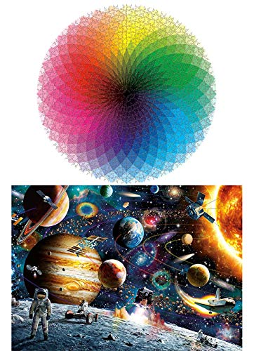 Puzzles 1000-Piece for Adults Kids -Space and Gradient Color Rainbow Large Round Jigsaw Puzzle Educational Intellectual Decompressing Fun Family Games DIY Toys for Gift 2 Boxes