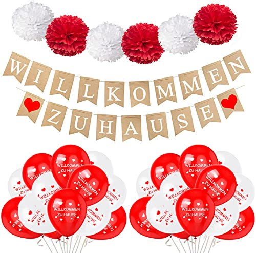 Willkommen Zuhause Banner Girlande, Welcome Home Banner mit Herzen, 30 Stück Luftballons, 6 Stück Pompons Seidenpapier Blumen Weiß Rot für Familie Party Hochzeit Deko