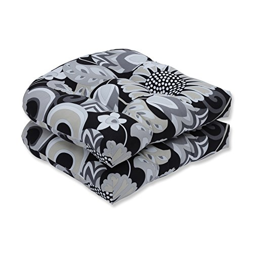 Pillow Perfect Outdoor/Indoor Sophia Graphite Tufted Seat Cushions (Round Back), 19' x 19', Black, 2 Count