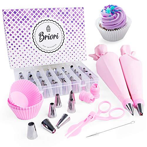 Briori Premium Spritztüllen Set 61 Teilig, 48 Edelstahl Tüllen - Silikon Spritzbeutel - Profi Backzubehör mit Cupcake Förmchen - Backset für Tortendeko (61-teilig (Rosa))