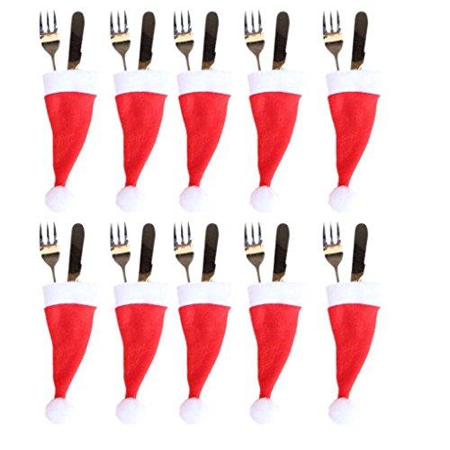 Fangfeen décoration Chapeau Couverts Chapeau de Noël Art de la Table Argenterie Porte-Poches cuillère dîner Boîte Case Décoration Fourchette