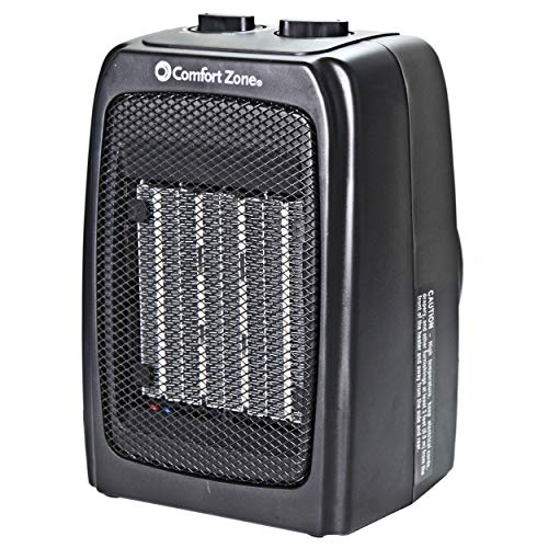 Comfort Zone CZ441E Personal Ceramic Heater - 1500W Energy-Efficient Fan-Forced Heating Appliance for Small Spaces, Bedroom & Office - Indoor Warmer With Adjustable Thermostat & Overheat Protection