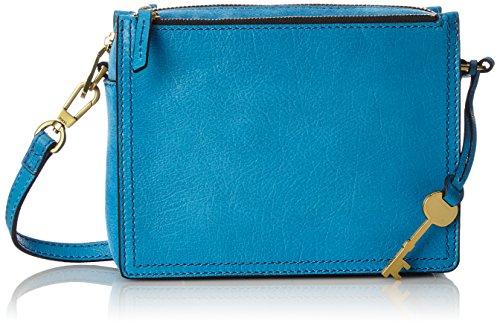 Fossil Damen Damentasche– Campbell Crossbody Umhängetasche, Blau (Cerulean), 7.3x14.92x20 cm