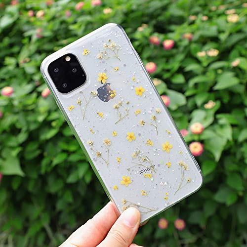 Compatible with iPhone 11 Pro Flower Case, Feibili Soft Clear Flexible Rubber Pressed Dry Real Flowers Case Girls Glitter Floral Cover for iPhone 11 Pro(Yellow)