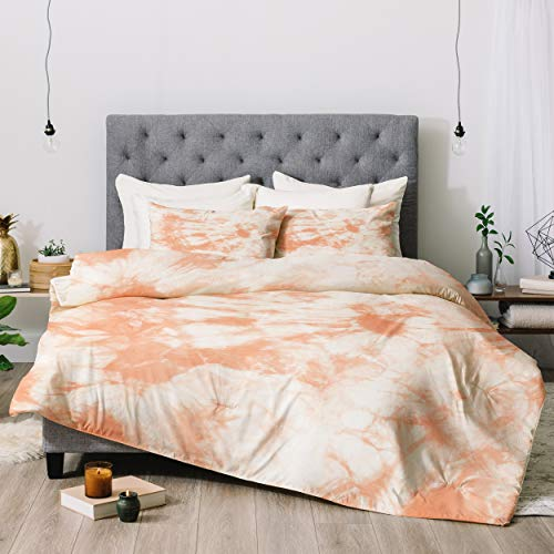 Deny Designs Amy Sia Tie Dye 3 Peach Comforter Set with Pillow Shams, Twin, Orange