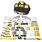 The 467-Piece Heavy Duty Household Tool Set includes 53 sockets, 12 combination wrenches, pliers set, screwdrivers set and other various tools for convenient to complete any tasks. Bi-material handles with ergonomic non-slip design for more comfortab...
