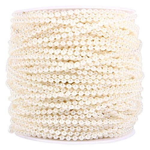 URRNDD 50M Roll 3mm Fishing Line Pearls String Beads Chain Garland Wedding Beaded Curation Decoration Centerpieces(Beige)