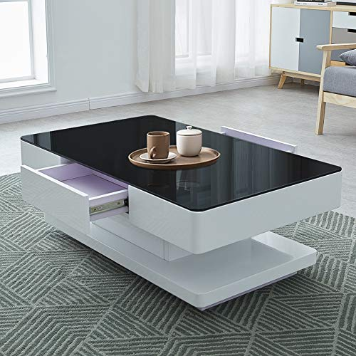 OFCASA 2-Drawer High Gloss Coffee Table Black Glass Top Coffee Table with Storage for Living Room Wood Storage Cabinet for Home Office