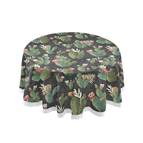 ALAZA Cactus Cacti Flower Print Vintage 60 x 60 Inch Table Cloth for Round Tables with Elastic Tablecloth Anti Wrinkle Table Cover for Dining Kitchen Parties