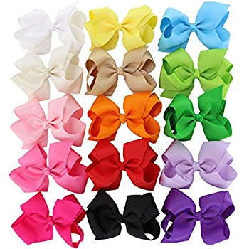 4.5 inch Hair Bows For Girls Grosgrain Ribbon Baby Girls Large Boutique Bow Clip Teens Toddlers Kids Children Set Of 15 Color