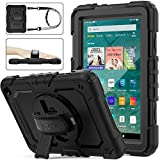 SEYMAC Stock Case for Fire HD 8/8Plus (10th Generation 2020 ), Shock-Proof Case with [360 Degree Rotating Stand] Hand Strap[Pen Holder][Screen Protector] for Fire HD 8/8 Plus 10th 2020 (Black)