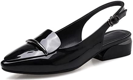 538a668486c Easemax Women s Dressy Pointed Toe Low Chunky Heels Slingback Sandals