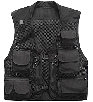 Herebuy8 Men s Mesh Fishing Vest Multi Pockets Photography Outdoor Jacket  Black XL-US