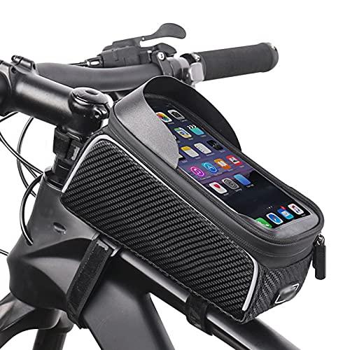 OEMC Bolsa De Movil Bicicleta Manillar, Soporte Impermeable Accesorios Bicicletas Porta,actualización De Velcro De Silicona Bike Frame Bag para Teléfono Inteligente por Debajo De 6,8pulgadas