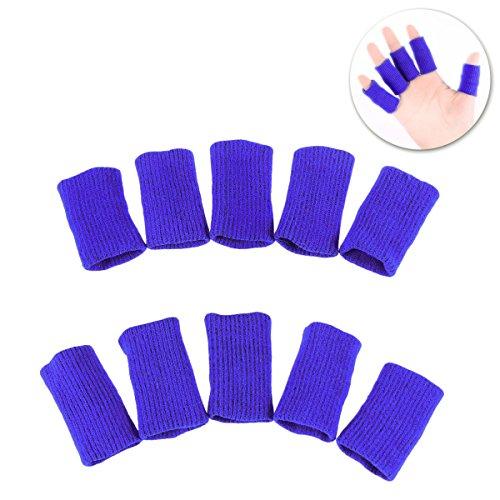 HEALLILY 10 Stücke Fingerlinge Fingerschutz Atmungsaktive Elastische Daumenorthese Schutz für Basketball Volleyball Baseball Badminton Tennis Bootfahren (Blau)