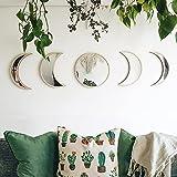 Moon Phase Mirror Set, 5 Piece Scandinavian Natural Decor Moonphase Moon Decor Bohemian Moon Mirror Wall Decoration for Living Room Bedroom, Acrylic Mirror