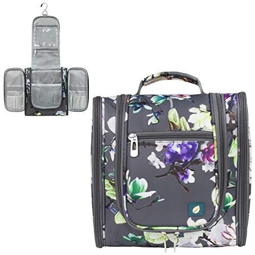 PAVILIA Hanging Travel Toiletry Bag Women Men | Hygiene Bag, Bathroom Toiletry Organizer Kit for Cosmetics, Makeup, Toiletries Accessories (Floral Grey)