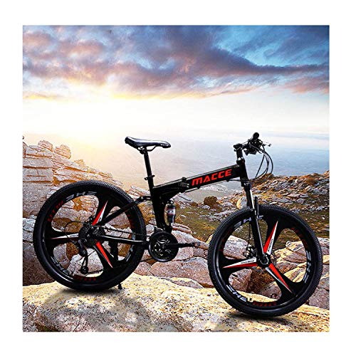 DEESEE Mountain Bike, 24in/26in 21 Speed Folding Men Bike, Full Suspension Carbon Steel Bicycle for Students, Office Workers, Bikers, City Riding Bikes (Black, 24 inch)