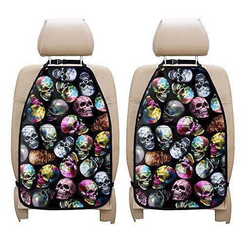 doginthehole Skull Printed Backseat Car Organizer Kick Mats 2 Pack Back Seat Storage Bag with Clear Screen Bag Large Storage Pockets,Seat Back Protectors for Kids,Set of 2