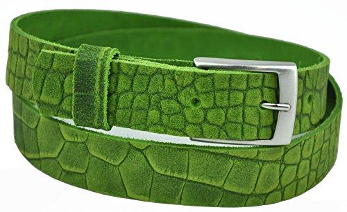 Dayneq 3cm Breit Echt Leder Guertel - -Kroko-Gruen-120cm-Bundweit