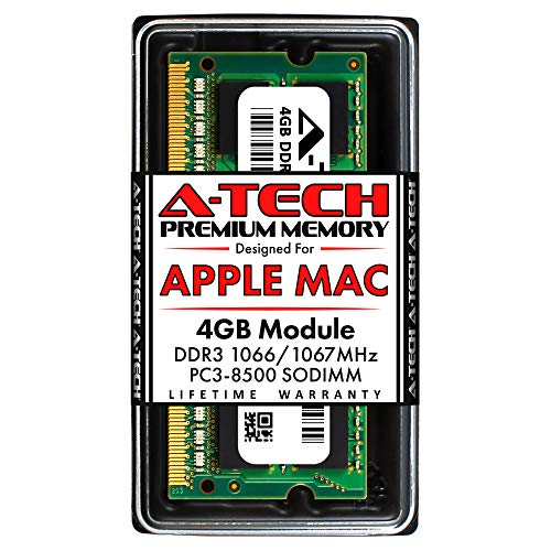 A-Tech 4GB PC3-8500 DDR3 1066/1067 MHz RAM for MacBook, MacBook Pro, iMac, Mac Mini (Late 2008, Early/Mid/Late 2009, Mid 2010) | 204-Pin SODIMM Memory Upgrade Module
