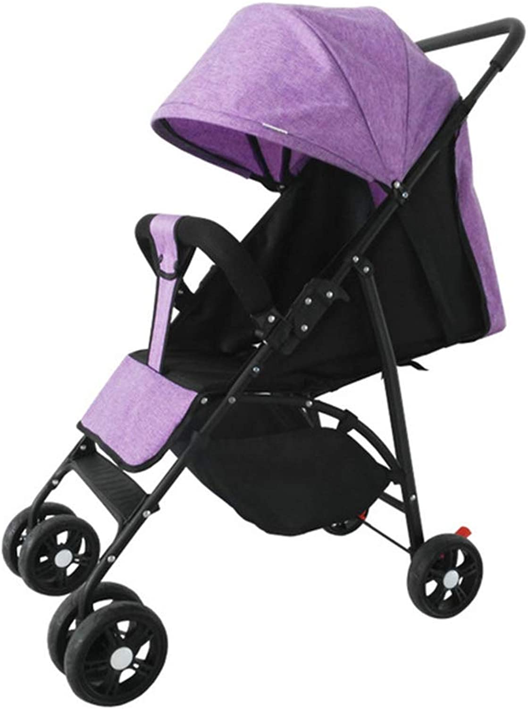 Godme-Baby carriage Tragbarer Sonnenschutzkinderwagen, Verstellbarer Sitzklappkinderwagen, allradgetriebener Anti-Roll-Stodmpferkinderwagen,B