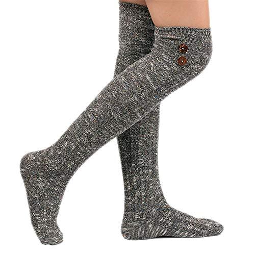 Lazzboy Socken Damen Winter Oberschenkel Hohe Socken über Kniestrümpfe Dicke Lange Stiefelsocken Für Frauen Knopf Knielang Vintage Kaschmir Socke Bequeme (Grau)