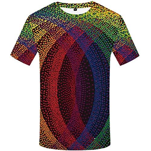 YAMAO Rundhals T- Shirt Homme,Sport, T-Shirt imprimé 3D Abstrait coloré Couleur Hommes Haut décontracté col Rond