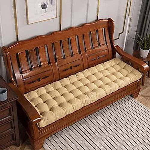 chenyu Cojines gruesos para banco de jardín de 8 cm, tamaño extra largo, 200 cm, 2 – 4 plazas, para interior de la bahía, cojín para asiento de patio, tumbona (48 x 170 cm), color beige